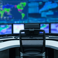 Network Operations Center Control Room.
